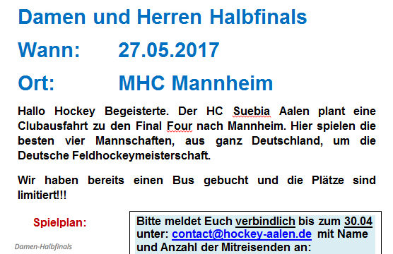 Clubausfahrt zur Deutschen Hockey Meisterschaft 2017